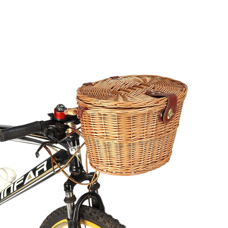 船乗り大声で予算Freelance Shop スポーツクラシック 取り外し可能 ウィッカー サイクリング 自転車 フロントバスケットボックス 自転車バスケット カバー付き