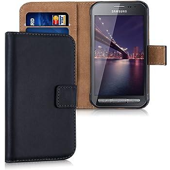 kwmobile Hülle kompatibel mit Samsung Galaxy Xcover 3 - Kunstleder Wallet Case mit Kartenfächern Stand in Schwarz