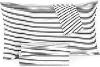 Charter Club Damask Designs Printed Pinstripe 4 Piece Queen Sheet Set Pinstripe Black