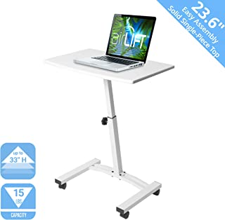 "Seville Classics 23.6"" Solid-Top Height Adjustable Mobile Laptop Desk Cart (20.5"" to 33"" H) Ergonomic Table, White"