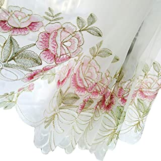 HOLY HOME Fan-Shaped Balloon Shades Pink Voile Embroidery Rose Flowers Drawstring Pull-up Jabots Sheer Panels Cloth Art Home Décor 33 by 68 inches