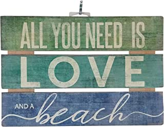 Imprints Plus Love and A Beach Inspirational Reclaimed Wood Sign, 12