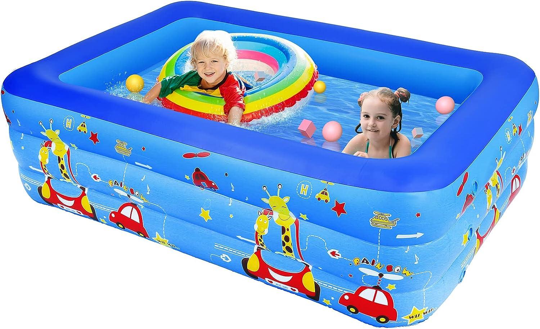 KKTECT Piscinas inflables Piscinas para niños 210 * 145 * 65cm Piscina Inflable para niños para niños, Adultos, al Aire Libre, jardín, Juego de Actividades en el Patio Trasero