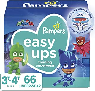 Pampers Easy Ups Pull On Disposable Potty Training Underwear for Boys and Girls, Size 5 (3T-4T), 66 Count, Super Pack (Packaging May Vary)