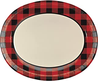 Creative Converting 323423 Paper Buffalo Plaid Oval Platter, 10