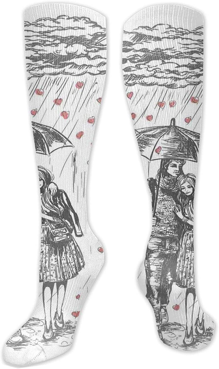 Compression High Socks-Floral Pattern Wildflowers Leaves And Butterflies Nature Inspired Illustration Best for Running,Athletic,Hiking,Travel,Flight