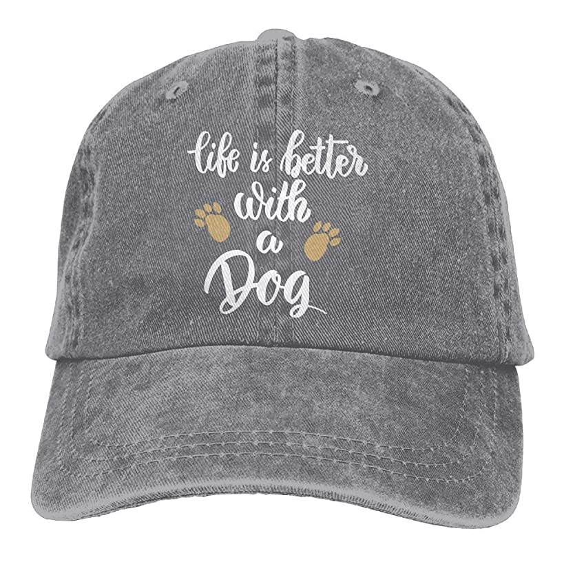 FUNINDIY Life is Better with A Dog-1 Vintage Jeans Baseball Cap for Men and Women