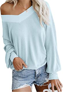 FEIYOUNG Women's Long Sleeve V Neck Striped Sweater Pullovers