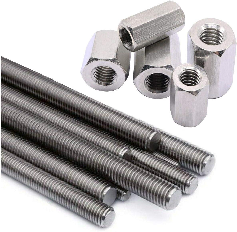 2 x Fully Threaded Screw Rod M6 x 300mm Steel Studding Bar /& 4 Connector Nuts