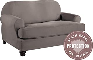 Tailor Solution Microsuede T-Loveseat Furniture Slipcover with Detachable Cushion, Stain Repellant & Stretch Fit Material (Grey)