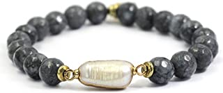 Womens Fashion Natural Gemstone Round Beads Healing Reiki Chakra Stretch Bracelets with Pearl(Gray Gold)