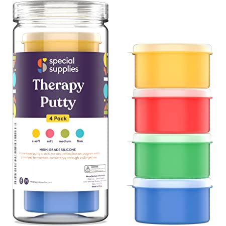 Special Supplies Therapy Putty for Kids and Adults - Resistive Hand Exercise Stress Relief Therapy Putty Kit, Set of 4 Strengths, Three Ounces of Each Putty