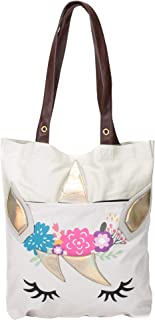 Floral Unicorn Applique 14.5 x 16 Inch Canvas Shoulder Tote Bag