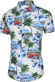 Men's Floral Casual Button Short Sleeve Hawaiian Shirt Large Men's Beach Vacation Shirt (Size : 4XL)