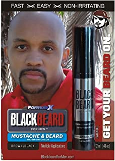 Blackbeard for Men Formula X - Instant Brush-on Beard & Mustache Color - 3-pack (Brown/black)