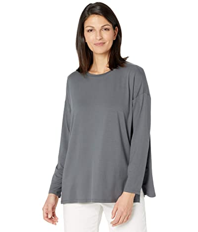 Eileen Fisher Fine Jersey Crew Neck Box Top (Slate) Women