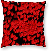 22 x 22 Inch Pillow Case, Modern Red Love Heart Pattern on Black Decorative Throw Pillow Cover Cushion Case