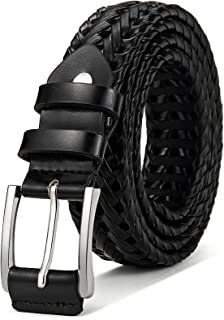 Mens Belts,Bulliant Leather Woven Braided Belts for Mens Casual Jeans Golf Pants,Anyfit,Gift Boxed