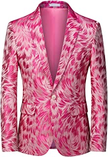 YOUTHUP Mens Embroidery Blazer Slim Fit 1 Button Pattern Suit Jacket Floral Formal Dress Jackets