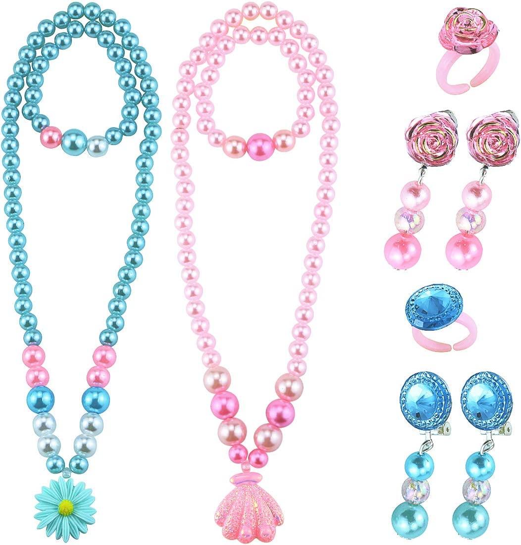 Wpxmer 2 Pack Beaded Necklace and Beads Bracelet for Girls, Bulk