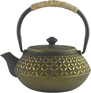 Hwagui - Best Chinese Cast Iron Teapot With Stainless Steel Tea Infuser For Loose Leaf Tea And Tea Bags, Golden Tea Kettle 600ml/20oz