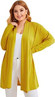 Milumia Women's Long Sleeve Open Front Knitted Sweater Trech Cardigan Coat Outwear Yellow 3X-Large