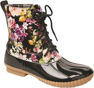 AVANTI Rosetta Lace-Up Rain Boots - Mid-Calf Duck Boots - Camo or Floral Print