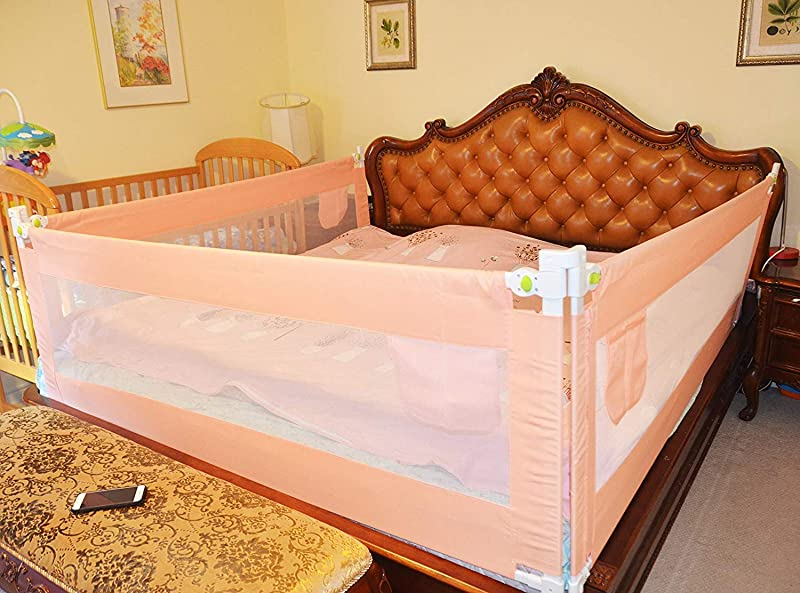 3 Set King 2 Set For 2 Length Side Of The Bed And 1 Set For Feed Size Of The Bed Size Bed Safety Bed GuardRail Bed Fence For Children Toddlers Infants Pink Color
