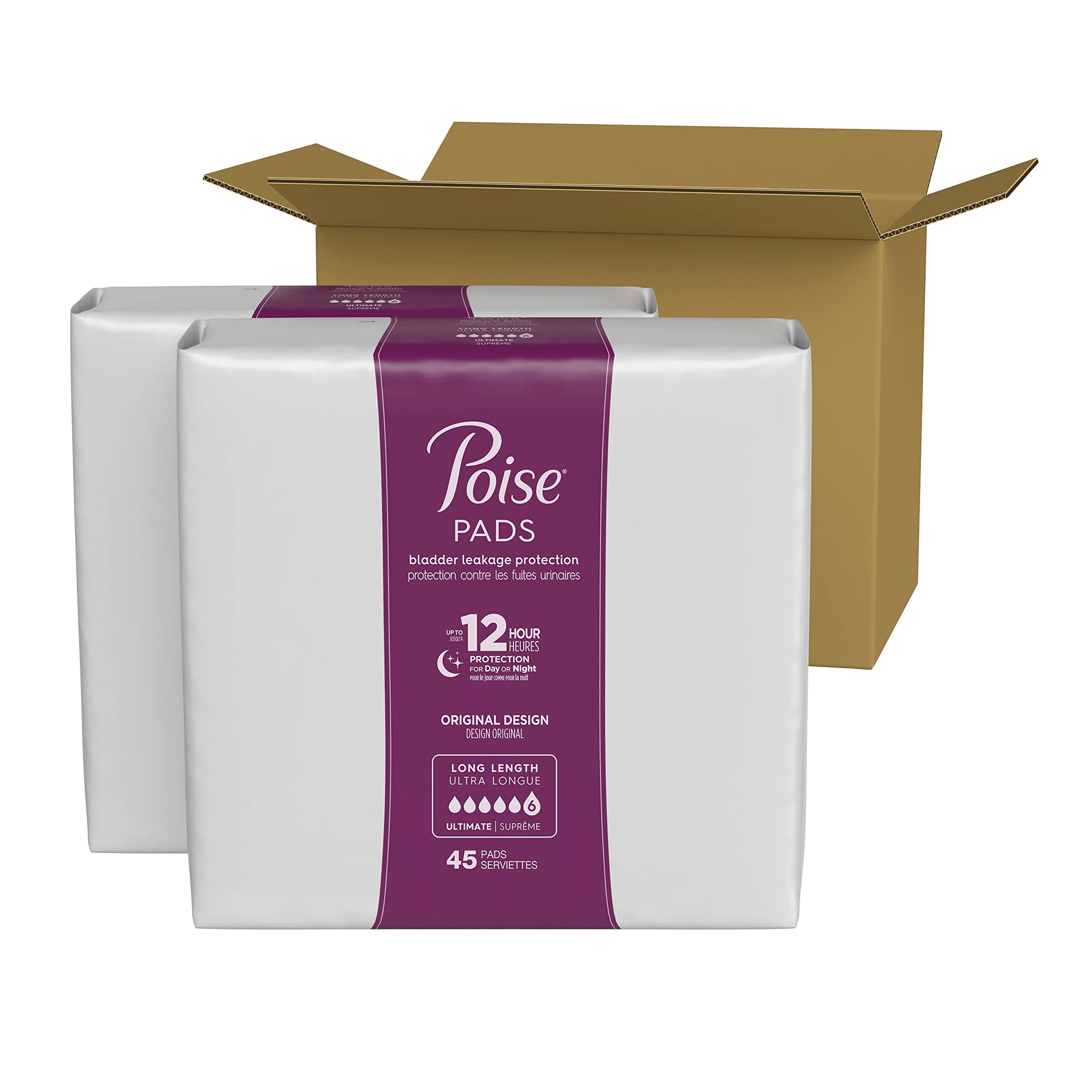 Poise Incontinence Pads for Women, Ultimate Absorbency, Long, Original Design, 90 Count (2 Packs of 45) (Packaging May Vary)