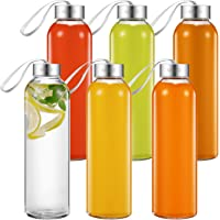 6 Pack Aicook 18 Oz Glass Water Bottles for Beverages