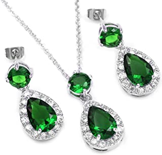 White Gold Plated Emerald Green Color Crystal Teardrop Bridal Necklace Earrings Jewelry Set