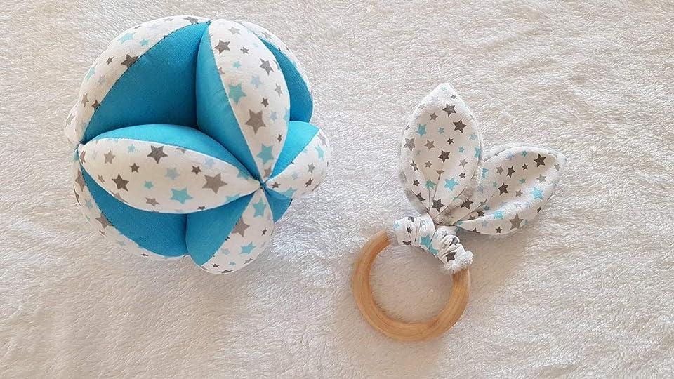 Montessori Gripping Ball / Rattle, Natural teething ring - Oeko-Tex Fabric - Blue Stars