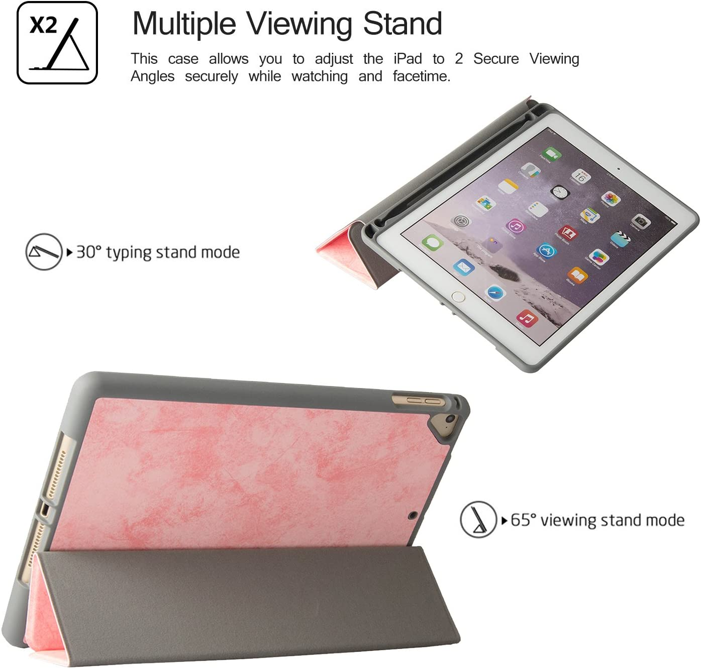New iPad Case 9.7 2018//2017 Slim Lightweight Smart Case Red Trifold Stand Soft TPU Honeycomb Back Cover for iPad 9.7 Inch 2018 2017//Air//Air 2//Pro 9.7 Auto Sleep//Wake Uliking iPad 9.7 Inch Case