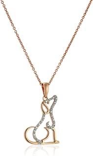 Jewelili 14K Rose Gold over Sterling Silver Diamond Accent Dog Pendant Necklace, 18