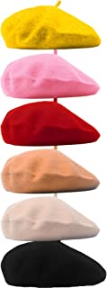 Cotiny 6 Pack Beret Hat French Beret Cap Winter Fashion Solid Color Hat Beanie Cap for Women Girls Lady