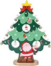 KESYOO Wooden Tree with Miniature Bells Funny Light Up Tabletop Christmas Tree Desktop Wooden Christmas Ornament