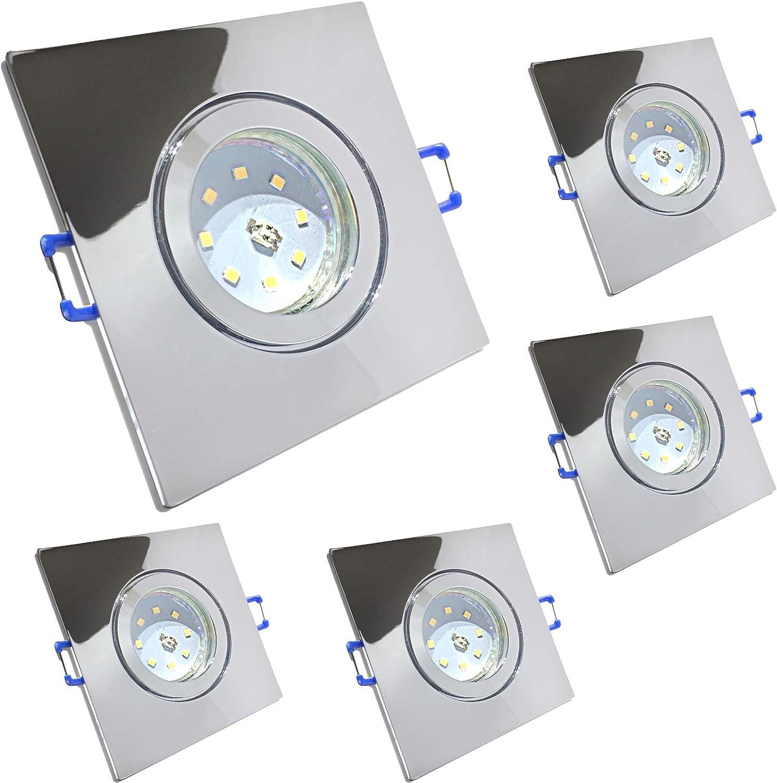 5 Stück IP44 SMD LED Bad Einbaurahmen Aqua 230 Volt 3 Watt Eckig Farbe Chrom glnzend Lichtfarbe Neutralwei