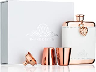 Infino Design Hip Flask Luxury Gift Set for Women, Rose Gold, Jewel and White Leather Cover, 18/8 Stainless Steel 6 Oz, Fits for Handbag, Pocket and Jacket