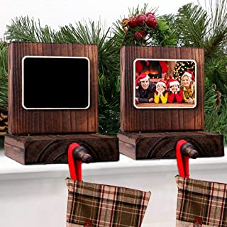 PartyTalk 2pcs Wooden Christmas Stocking Holder for Mantle or Fireplace, DIY Rustic Chalkboard Stocking Hanger for Christmas Holiday Home Decor
