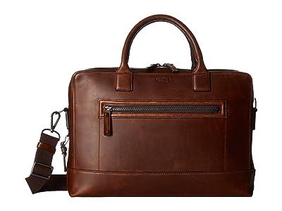 Shinola Detroit Bedrock Brief/Navigator (Medium Brown) Briefcase Bags