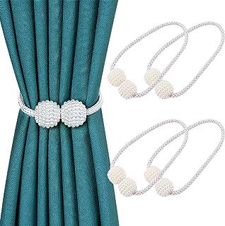 N-B Paquet de 4 Embrasses à Rideaux Magnétiques, Attaches de Rideau, Boucles pour Rideaux, Accessoires pour Rideaux et Sto...