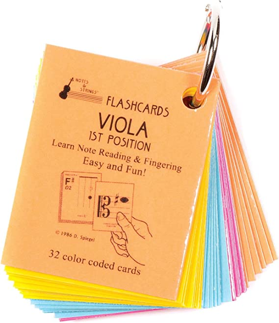 """Notes & Strings Viola 1st Position 2""""X2.5"""" Mini-On-A-Ring Size Laminated Flashcards"""