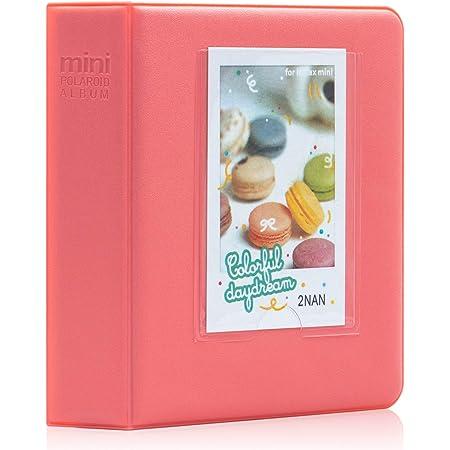Amimy 64 Pockets álbum de Fotos para Fujifilm Instax Mini 7s 8 8+ 9 25 50 70 90, Polaroid Snap PIC-300, HP Piñón, Kodak Mini 3 Pulgadas de película con Pegatinas de Colores (64 Bolsillos, Rojo)