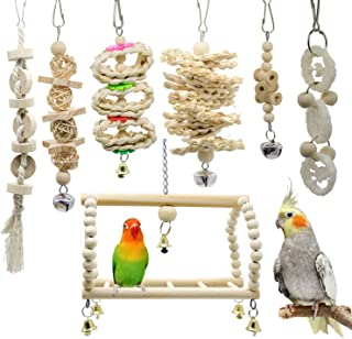 WEIYU 7 Packs Bird Parrot Swing Chewing Toys- Natural Wood Hanging Bell Bird Cage Toys Suitable for Small Parakeets,  Cockatiels,  Conures,  Finches, Budgie, Macaws,  Parrots,  Love Birds