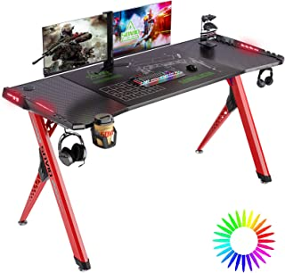 SOViD Gaming Desk with LED RGB Lights 55 Inch PC Computer Desk Y Shaped Gamer Setup Accessories for Sons' Gift Game Table ...