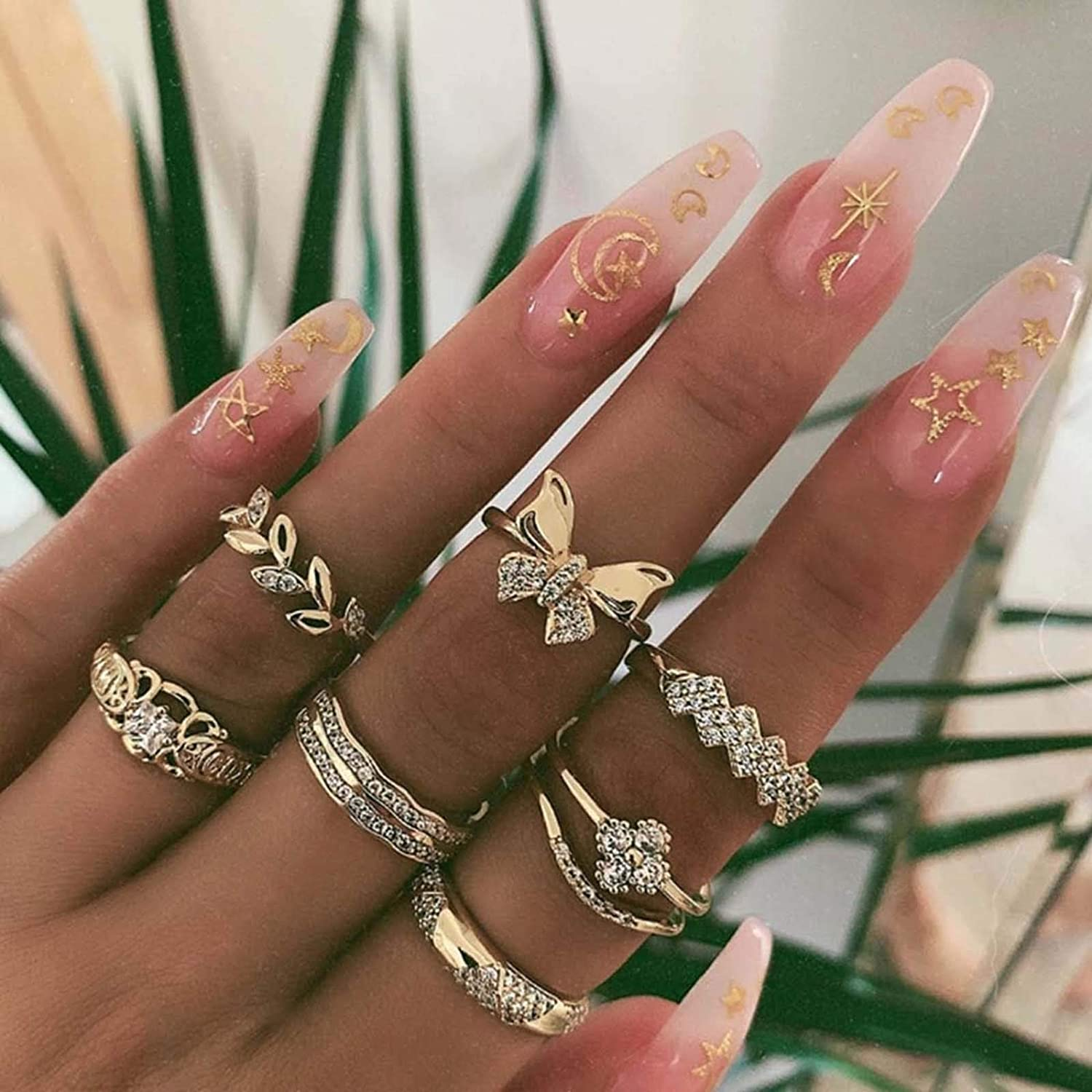 Bartosi Boho Rings Set Gold Crystal Knuckle Ring Set Butterfly Rhinestones Joints Rings Set Midi Stacking Finger Ring Statement Finger Ring Set for Women and Girls(7Pcs)