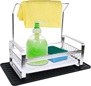 IEBIYO Sponge Holder With Towel Bar,Stainless Steel Kitchen Sink Cleaning Caddy Organizer For Sponges, Scrubbers, Dish Brushes,Sponge Holder With Removable Tray And Silicone Mat
