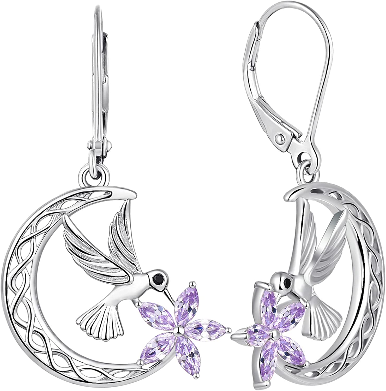 Deluxe Ranking TOP16 YL Hummingbird Hook Earrings Sterling Silver Celtic Moon Flowers