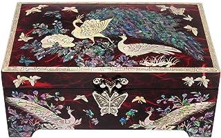 Nacre Paon Asie en bois laqué rouge Bijoux Oiseaux-Bijoux Rangement Treasure Coffret cadeau souvenir