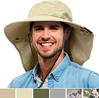 Mens Wide Brim Sun Hat with Neck Flap Fishing Safari Cap for Outdoor Hiking Camping Gardening Lawn Field Work
